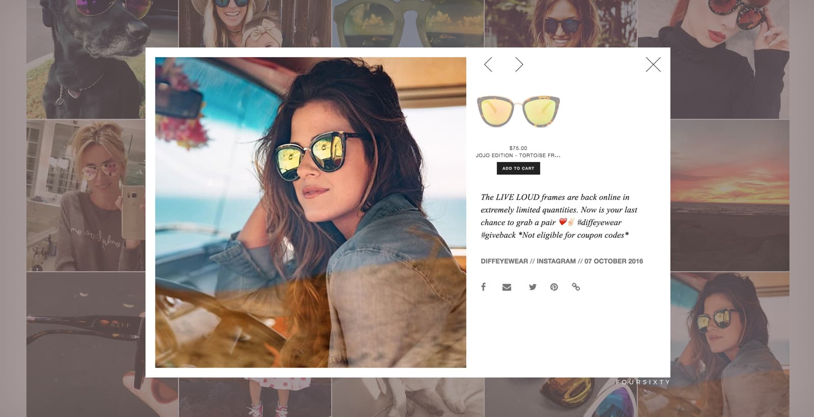 DIFF Eyewear Social Campaign, Ekko Media web design, video production and marketing