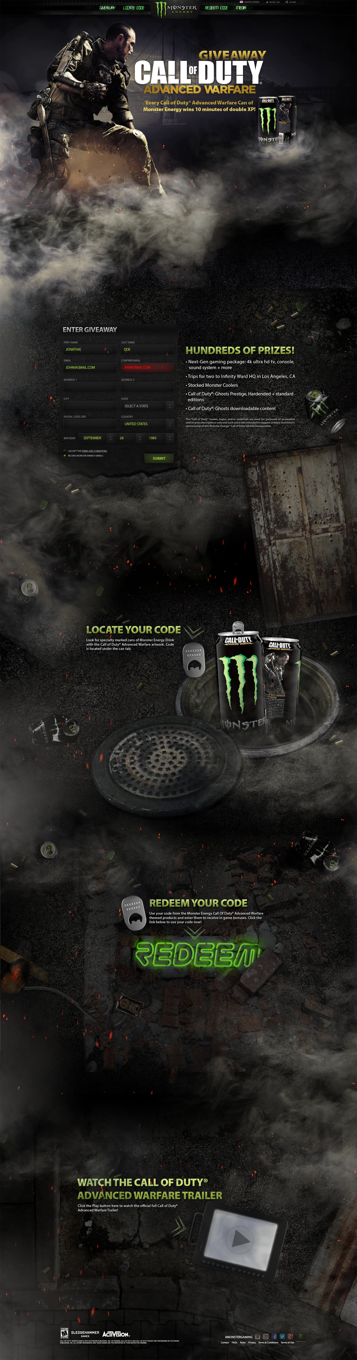 Monster Energy, Call of Duty Promotional Site,Ekko Media web design, video production and marketing