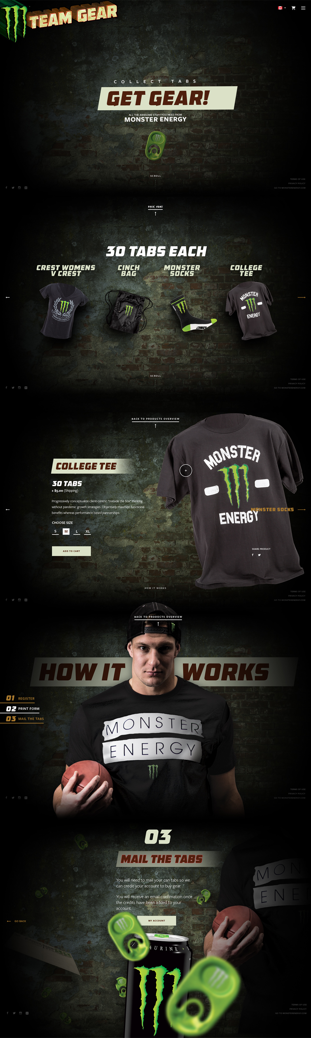 Monster Energy Gear Homepage, Ekko Media web design, video production and marketing