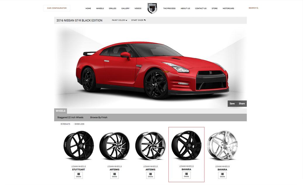 Lexani Wheels car configurator, interactive website, Ekko Media web design, video production and marketing