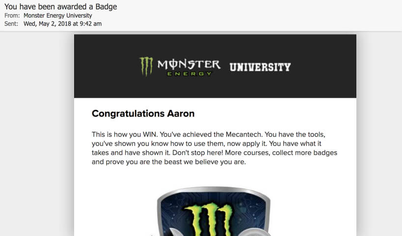 Monster Energy University Dashboard, interactive website, Ekko Media web design, video production and marketing