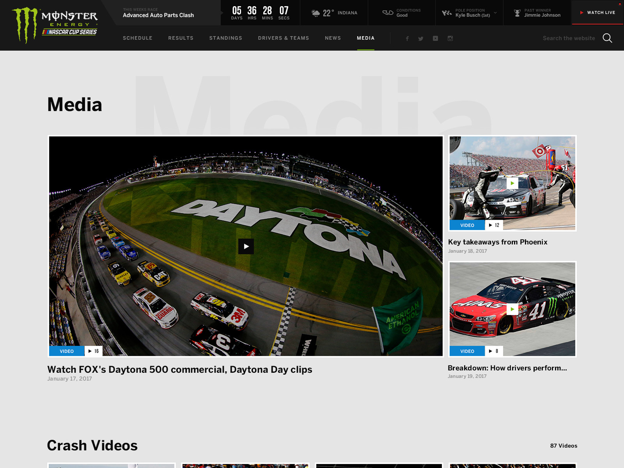 Monster Energy, NASCAR Website, Ekko Media web design, video production and marketing