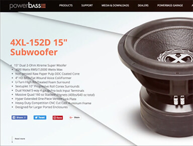 Powerbass Audio USA website design and development